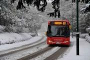 Bus on a snow-covered road