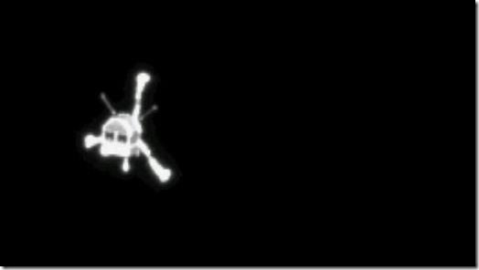Philae seen from Rosetta shortly after release