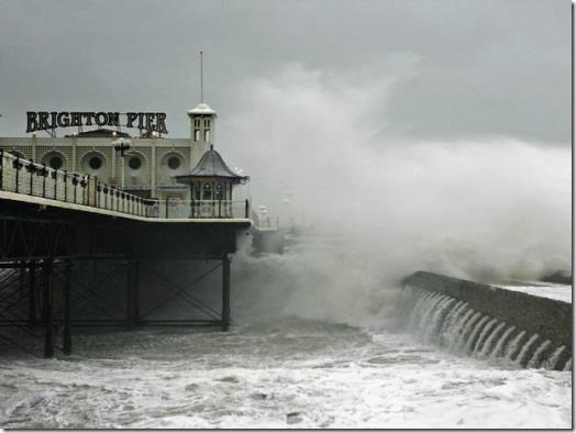 Brighton Pier and bad weather